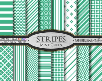 Mint Green Striped Digital Paper Pack - Instant Download - Stripes and Diamond Patterned Paper for Digital Scrapbooking