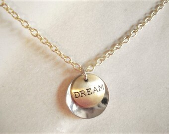 Dream Disc Necklace Silver Disc Necklace Gold Disc Necklace Metal Disc Jewelry Minimalist Jewelry