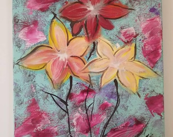 Original mixed media flower painting 11x14