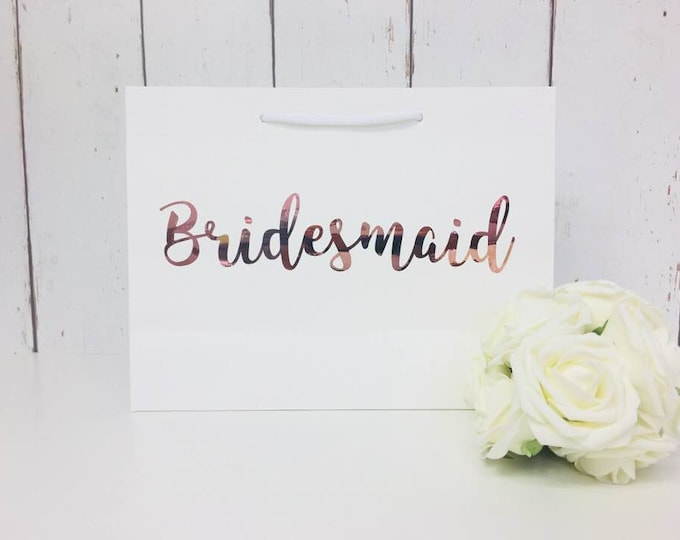 Featured listing image: Rose Gold Bridesmaid |Bridesmaid Gift Bag |Bridesmaid Bag |Personalised Bridesmaid Bag |Wedding Gift Bag |Boutique Bag |Thank You Bridesmaid