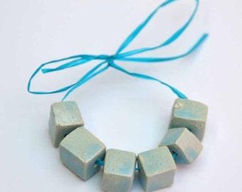 Handmade Ceramic Beads Cubic in Turkish Blue