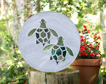 Baby Sea Turtles Hatchlings Stained Glass Stepping Stone #864