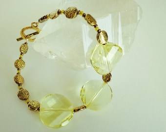 Yellow Crystal Bracelet, Swarovski Jonquil Crystal Twist Beads Bracelet, Yellow Glass Beads Bracelet,  OOAK Handcrafted Jewelry Gift for Her