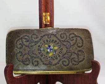 Victorian, Silver Beaded, 1875, PocketBook, Hand Embroidery, Leather, Silk,  Ladies Wallet, Ladies Pocket Book, Antique ladies Wallet, Purse