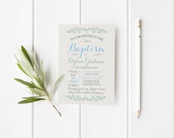Baptism boy invitation printable, Invitation baptism floral printable, Baptism party invitation, Christening Invitation