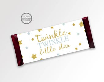 Twinkle Little Star Candy Bar Wrappers | Candy Wrappers | Printable Party Supplies | Twinkle Baby Shower Candy Wrapper | Baby Shower Party