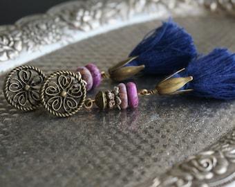 """Bohemian """"Glowing Sky"""" Dangle Tassel Earrings, Boho Chic Gypsy Rustic Crystal Statement Beaded Navy Blue Purple Earrings Women's Gift ByLEXY"""