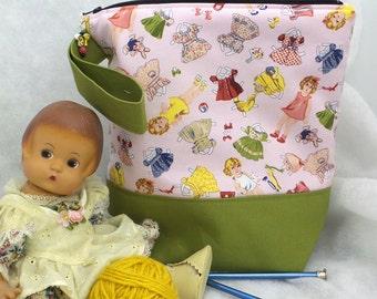 Medium Paperdoll Knitting Bag, Knitting Tote,  Knitting Project Bag, Crochet Project Bag, WIP Project Bag
