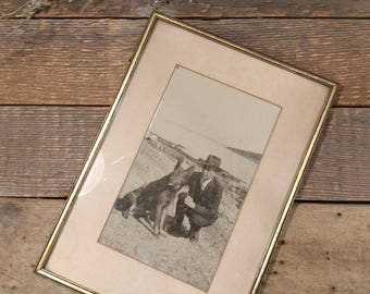 Vintage Wooden Framed Black and White Photograph / 1940s / Police Detective and His Dog on the Shore / Downeast Maine / Gilt Frame / Canine
