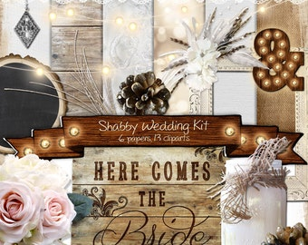 Shabby Chic Wedding Scrapbooking Kit with 13 Cliparts and 6 Papers • Rustic Wedding Scrapbook • DIY Wedding Invitations • Hybrid Scrapbook
