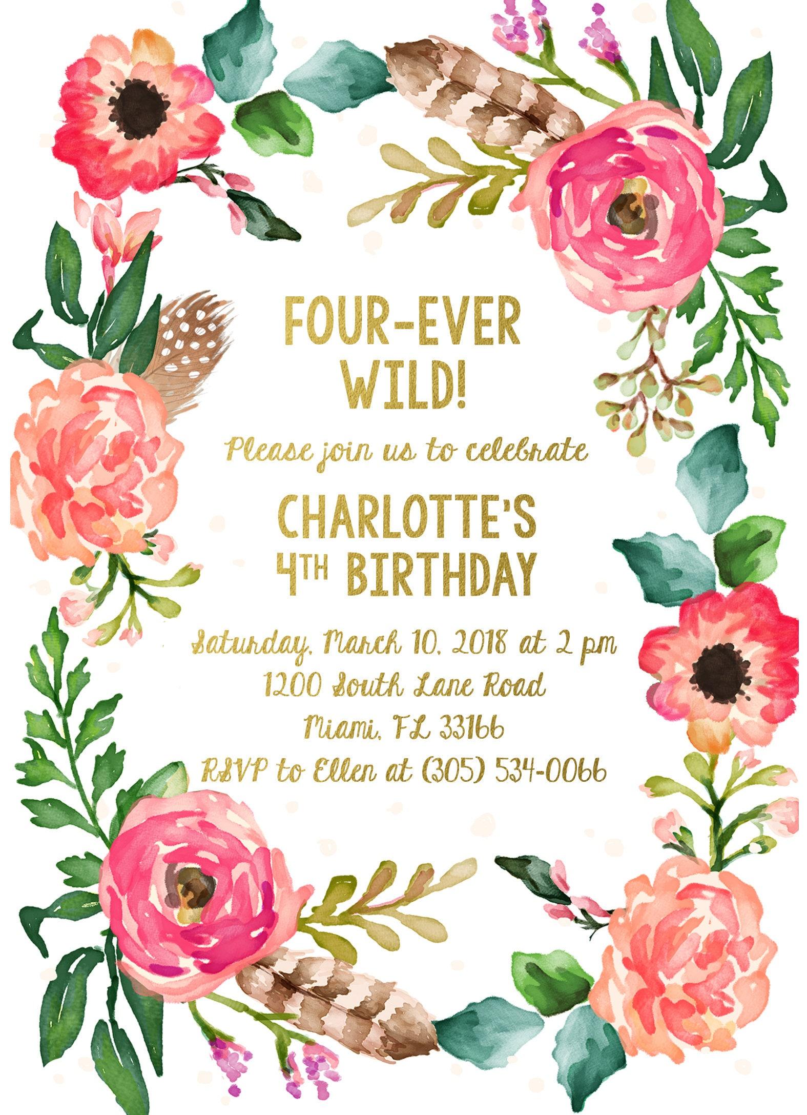 Fourever Wild Birthday Invitation Four Ever Wild Boho Birthday