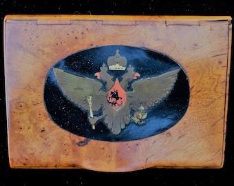 Antique 1880s Imperial Russian Faberge Romanov Burl Wood Presentation Cigarette Case Box Coat of Arms Crest
