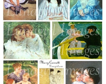 MARY CASSATT Art digital collage sheet, Victorian girls children baby, French Impressionist paintings, vintage images, mothers day, DOWNLOAD