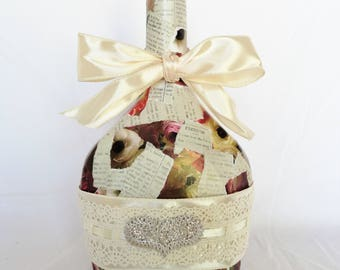 Roses and Heart Decoupaged Vintage Bottle