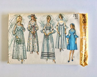 Vintage Sewing Pattern Women's 70's Simplicity 9218, Bridesmaid, Wedding Dress (S)
