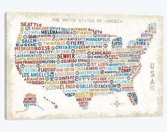 United States Map Print, United States Map Poster, USA Text Typography City Map Unique United States Canvas Art Print Poster Travel Map Gift
