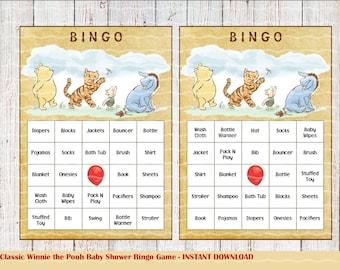 Classic Winnie the Pooh Baby Shower Bingo Game, Bingo Games, 25 Cards, Instant Download