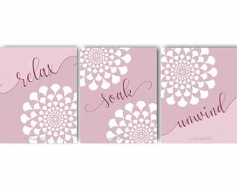 Bathroom Art, Bath Decor, Floral Bathroom Art, Bathroom Wall Art, Bathroom Wall Decor, Relax Soak Unwind, Relax, Soak, Choose Colors BAFL05