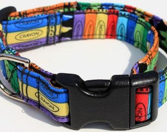 Crayola Crayons Dog Collar Size XS, S, M or L