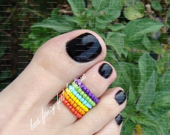Stacking Toe Ring, Stacking Rings, Rainbow Bead Rings, Stretch Bead Toe Rings