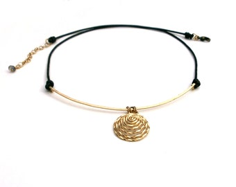 Gold Spiral Curved Bar Black Leather Necklace Gold Spiral Charm Pendant Gold Circle Necklace Hammered Wire Jewelry Tribal Jewelry