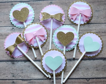 Pink, Gold, Mint- Bow & Heart Cupcake Toppers