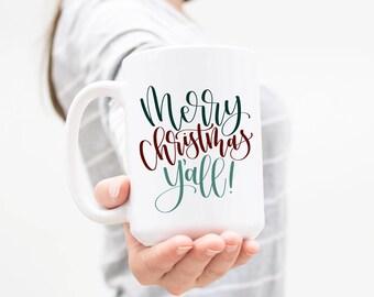 Merry Christmas Y'all 15 oz Mug, Ceramic Mug, Southern Sayings, Hand Lettered, Hewitt Avenue