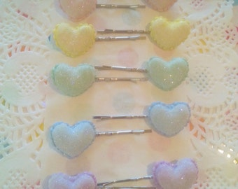 Sugar Heart Pastel Hairpin - Decora Fairy Kei Kawaii