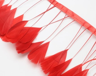 10cm of colorful feather red Q040 - creating jewelry-