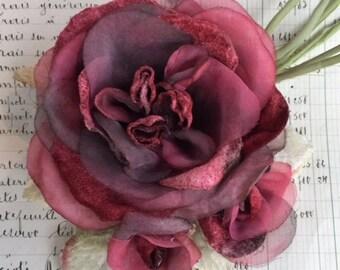 velvet peony rose. millinery rose. antique red velvet rose. millinery couture. red rose with buds.