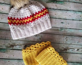 Game Day Set-beanie and boot cuffs