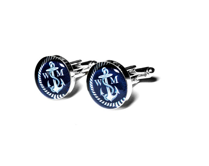 Nautical Anchor Custom Personalized Cufflinks, Grooms Gift, Beach Wedding, Fiance Gift, Anniversary, Navy, Custom Cufflinks