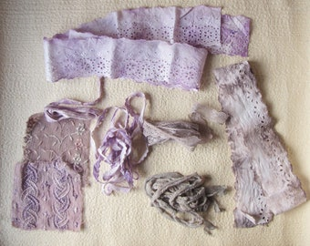hand dyed fabric scraps - vintage lace, eyelet trim and sari patches - lavender ripple