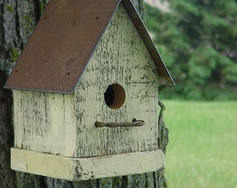 Rustic Yellow Birdhouse Cottage Beach French Country Simple and Sweet