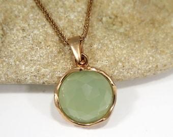 Jade Necklace, Rose Gold Necklace, Gemstone Necklace, Jade Jewelry, Delicate Necklace, Vintage Necklace, Vintage Pendant, Mothers Day Sale