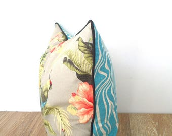 Tropical flower outdoor pillow cover beach house decor, parrot pillow case mix and match fabric, pineapple cushion cover Hawaiian decor