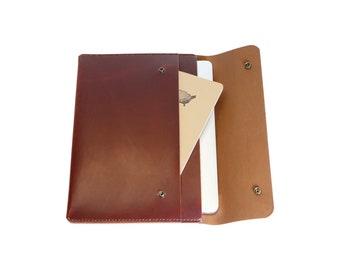 H+B Laptop/iPad Case with Pocket - Burnt Umber Leather