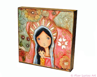 Madonna of the Flowers -  Giclee print mounted on Wood (8 x 8 inches) Folk Art  by FLOR LARIOS