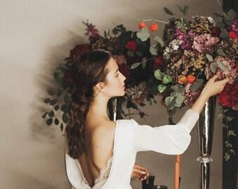 Wedding dress, ivory wedding dress, chiffon gown, train, Bridal Gown, Boho wedding dress, bohemian,bridal dress, bridal gown /Sakura