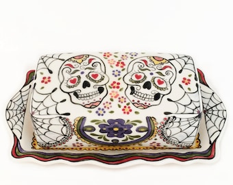Sugar Skull Ceramic Butter Dish and Lid, Day of the Dead Design, Ceramic Serving Ware, Dia de los Muertos Hand Painted Mexican Folk Art