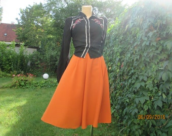 A Line Skirt / Skirt Vintage / Full Skirt Orange / Size EUR 40 / 42 / UK12 / 14 / Knee Length Skirt