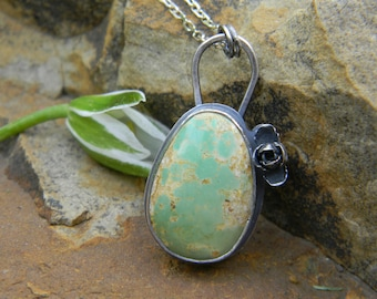 Natural Hachita Turquoise and silver succulent Pendant Necklace
