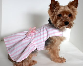 Pink Dog Dress, XS S M L Pretty Pink and white stripe Dress for Dogs, designer fashion dog clothes