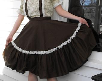 Folk Dress Country Full Skirt Square Dance Austrian Floral Brown S M