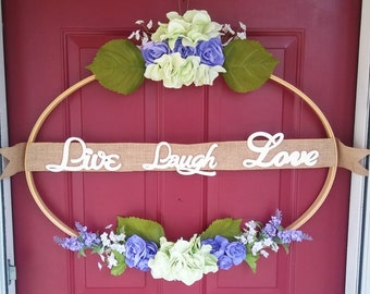 Live, laugh, love oversized hoop wreath