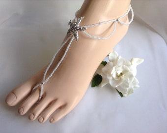 White Barefoot Sandals, Bridal Foot Jewelry, Starfish Barefoot Sandle,Beach Wedding Sandals