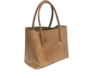 Big leather bag natural leather shopping bag shopper Ledershopper used look vintage-design handmade