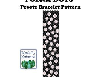 Peyote Pattern - Polka Dots - INSTANT DOWNLOAD PDF - Peyote Stitch Bracelet Pattern - Two Drop Even Peyote - Classic Peyote Pattern