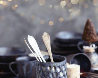 Utensil holder, Flip stir whisk, Ceramic cutlery dish, Holder, Silverware holder, Ceramics, Cutlery crock, Burlap table holders, Kitchen