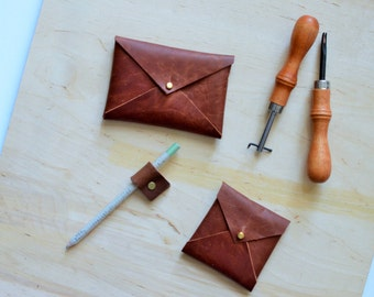 Leather business card envelope wallet, back to school, brown leather wallet, square card wallet, business card case, card holder, envelope c